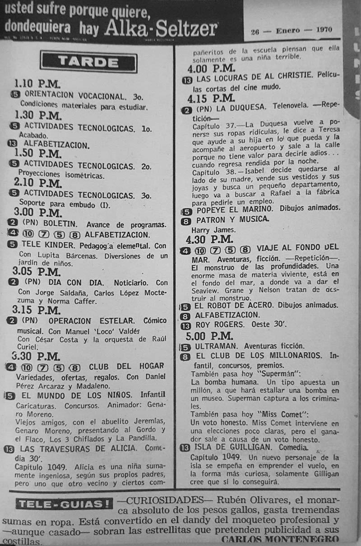 32-revista teleguia enero 1970 tele kinder jorge saldana locuras de al christie club de los millonarios